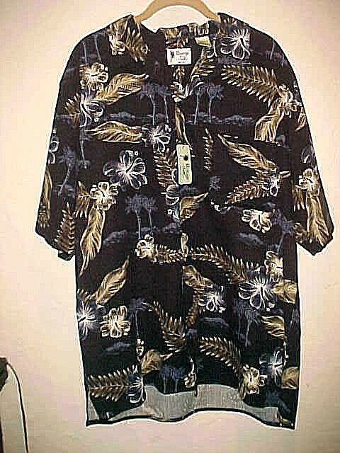 NEW MEN'S VINTAGE SILK SHORT SLEEVE SHIRT MULTICOLOR FERNS & PALM TREE THEME LG