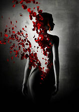 Naked Gothic Woman Turning into Red Rose Petals A4 Poster