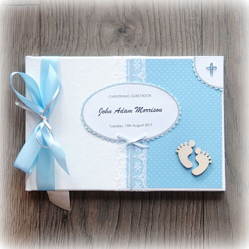 PERSONALISED BABY BOY CHRISTENING// BAPTISM GUEST BOOK Handmade boxed