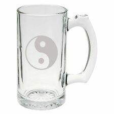 Yin Yang Symbol Hand Etched Mug 25 oz Beer Stein Glass Cup