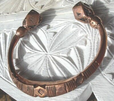 Niger Tuareg shiny large hand engraved  heavy copper bracelet +diamonds