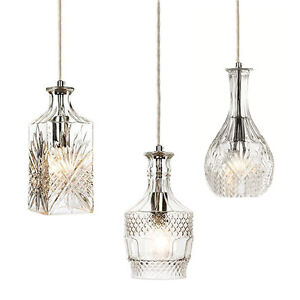 Vintage Crystal Wine Decanter Pendant Lights Cut Etched Glass Chrome