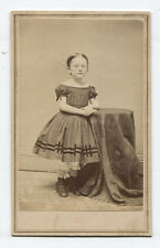 CDV CHILD STANDING AT TABLE, TINTED CHEEKS. STROUDSBURG, PA.