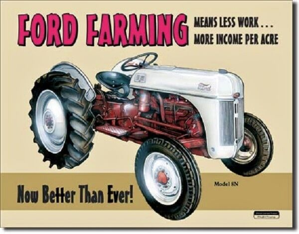 Ford Farming Model 8N Tractor TIN SIGN vtg metal wall decor garage poster ad 758