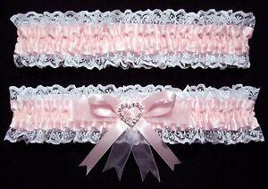 WEDDING-GARTER-SET-PINK-amp-WHITE-WITH-LARGE-HEART-DIAMANTE-CENTRE