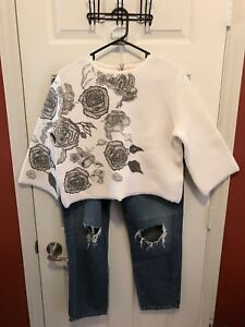 Re-Set-Crop-Floral-Sweater-Cream-Black-Zip-Back-Stretchy-Made-In-Italy-Size-44
