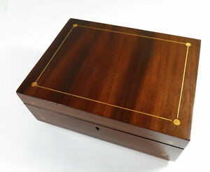 Restored-Antique-Mid-1800s-Mahogany-Veneered-Storage-Jewelry-Trinket-Box