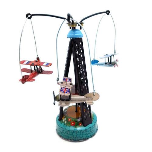Airplanes Merry Go Round Carousel Retro Clockwork Wind Up Tin Toy Kids Gift Z