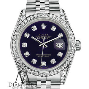 Rolex 36mm Datejust Diamante Viola Dial Jubilee Braccialetto Personalizzato Diamond Watch