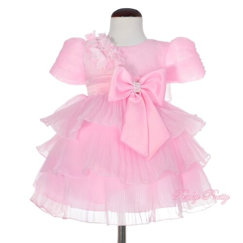 Organza Tiered Flower Girl Dress Up Wedding Christening Party Size 9-24m FG296