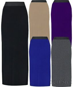 New-Womens-Plus-Size-Long-Maxi-Stretch-Jersey-Elastic-Waist-Band-Skirts-16-26
