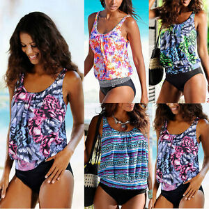a72277678bb Women Two Piece Blouson Sporty Tankini Set Swimwear Top+short Plus ...
