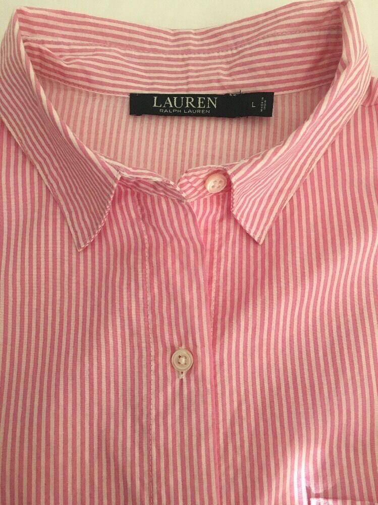 Ralph Lauren Pink Striped Long Sleeve Long Cotton Gown Womens Sz Large L
