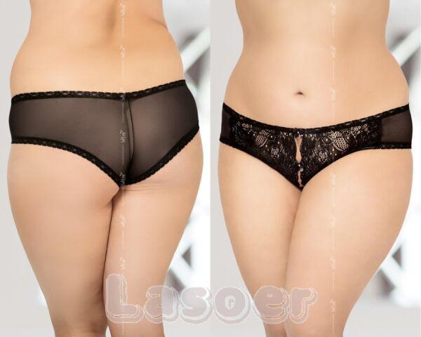 FOR CURVY GIRLS   –  Plus Size  Spitzen Panty overt Schritt offen  XL-XXXL 46-56