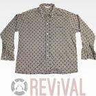 Vintage 50s PILGRIM Gray l/s All Over Pattern Button Down Mod Mens Shirt L