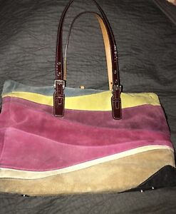 Coach-Limited-Edition-1434-Wave-Suede-Leather-Patent-Handles-Tote-Purse-RARE