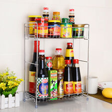 HOT Fashion Stainless Steel Stand Spice Rack Shelf Kitchen Jar Organizer Storage