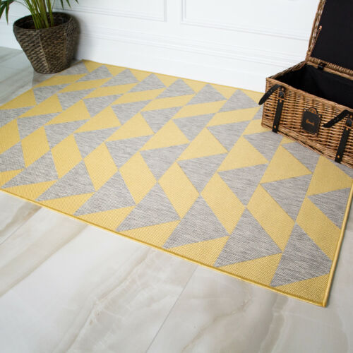 Yellow Ochre Cream Chevron Geometric Flatweave Indoor Outdoor Living Room Rug