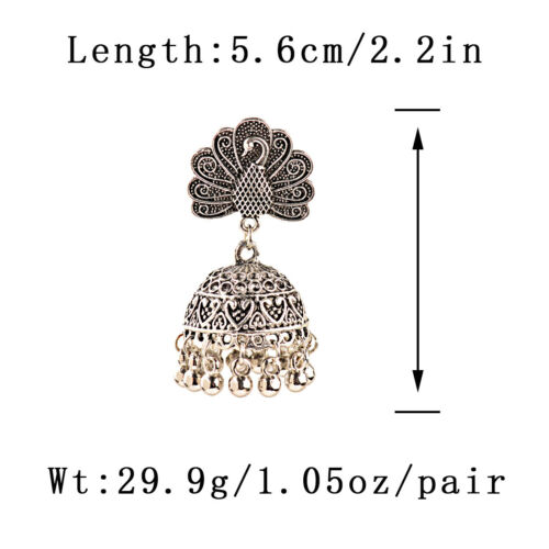 Vintage Women/'s Silver Antique Ethnic Small Bell Drop Indian Bollywood Earrings