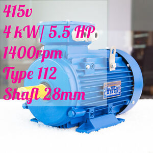 4kw-5-5HP-1400rpm-shaft-28mm-Electric-motor-Three-phase-415v