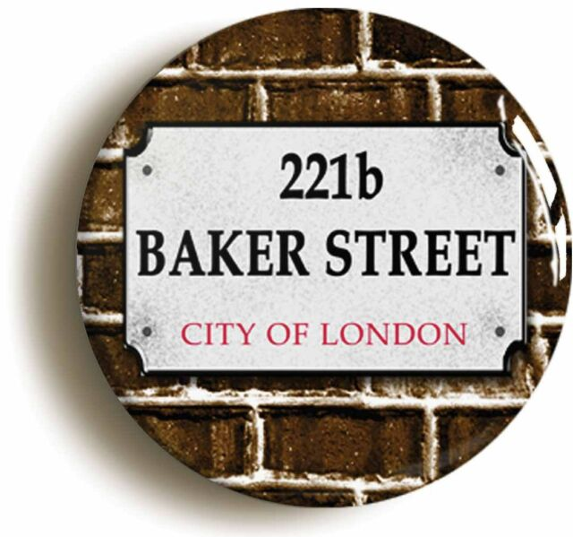 221b BAKER STREET SHERLOCK HOLMES BADGE BUTTON PIN (1inch/25mm diameter)