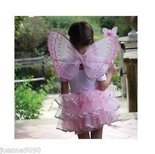 Girls Butterfly Pink Candy Floss Fairy Tutu Angel Wings Wand Fancy Dress Costume