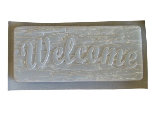 Bark Look Welcome Plaque Plaster or Concrete Mold 7153 Moldcreations
