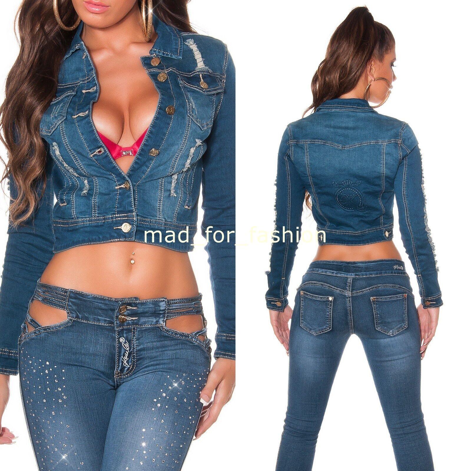 Sexy blue jean court veste en vieilli look. UE 36.38.40