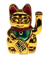 Goldene Winke-Katze Winkekatze Glücksbringer Glückssymbol 16cm hoch Glückskatze
