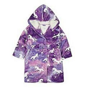 fd3aaca9cefa Image is loading Debenhams-Bluezoo-Girls-Lilac-Unicorn-Robe-Dressing-Gown-