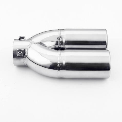 Bolt-on Dual 60mm Round Outlet 5 inch Wide Stainless Steel Exhaust Tip Tailpipe