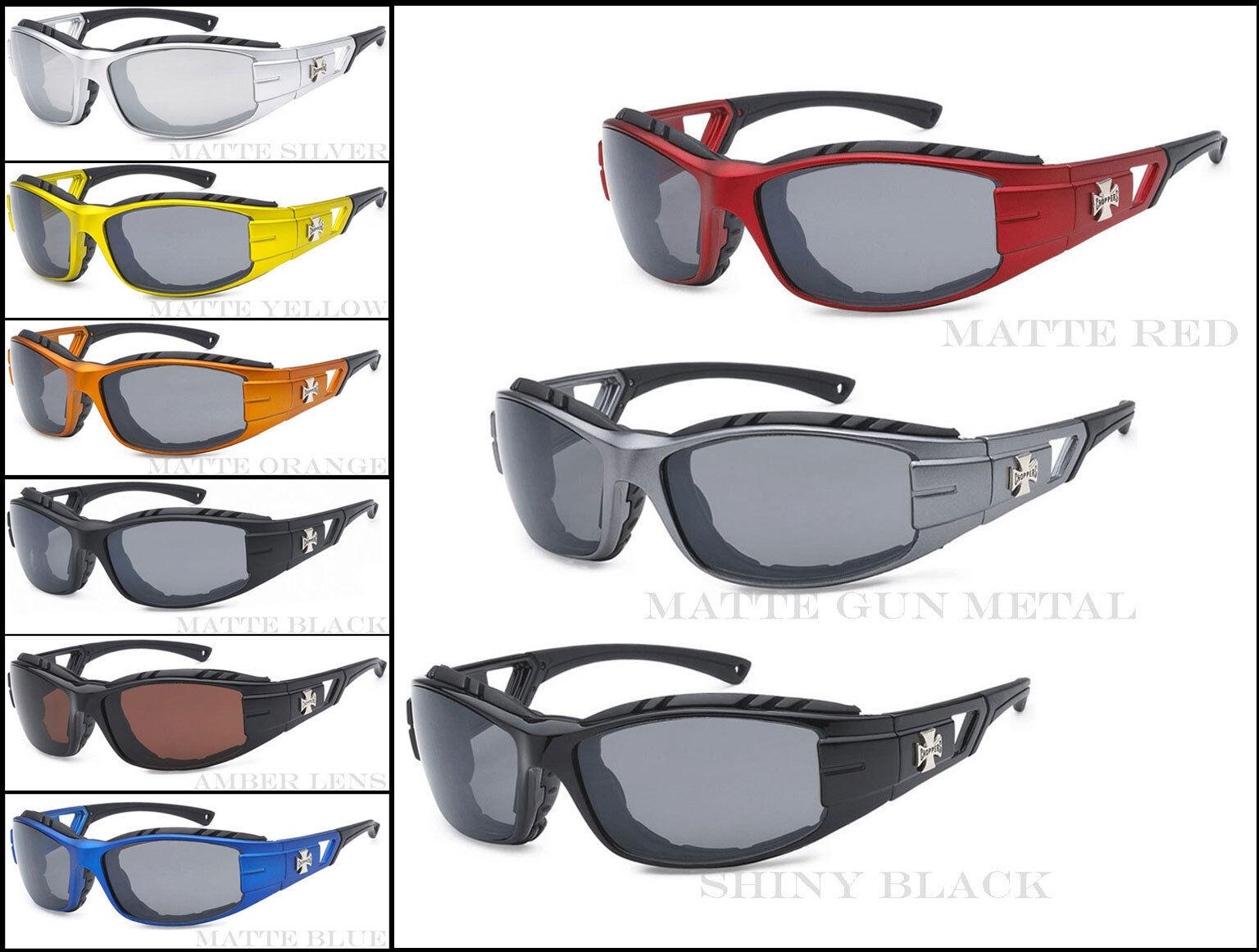 New Choppers Motor Bikers Mens Foam Padded Goggle Sunglasses Amber C51