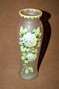 Vintage-Pink-Fine-Satin-Glass-8-034-Bud-Vase-Hand-Painted-Floral-Decor