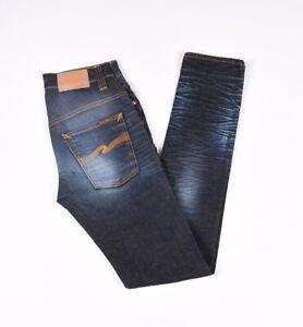 Nudie Jean Mince Finn Nuageux Bleu Acier Hommes Jeans Extensible Taille W28 L34