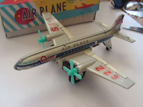 MF107  TIN TOY AIRPLANE JOUET TOLE VINTAGE  60 70 PLANE AVION