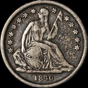 1840-O Seated Liberty Dime No Drapery Choice VF/XF Great Eye Appeal Nice Strike