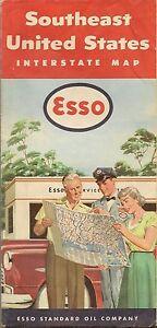 1953 ESSO Road Map SOUTHEAST U.S. Florida Georgia Louisiana Virginia ...