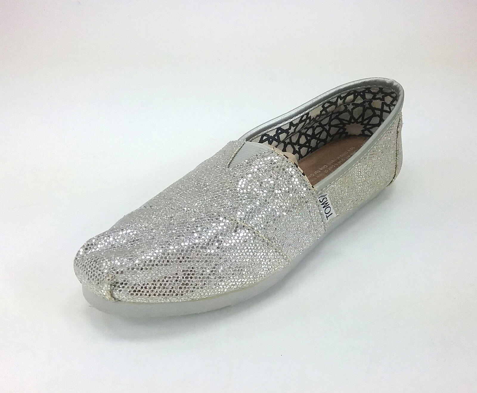 TOMS Classic Glitter Women Shoes Silver