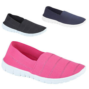 LADIES-WOMENS-SUMMER-SLIP-ON-CASUAL-CANVAS-BEACH-SHOES-HOLIDAY-TRAINERS-SIZE