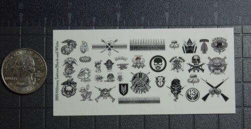 1//18 Scale Custom Tattoos Militaire Noir et Blanc-Waterslide Decals