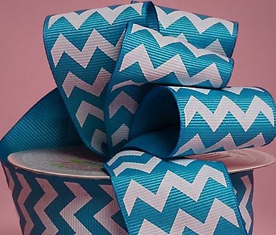 "1yd of Turquoise and White 1.5/"" Chevron Pattern Grosgrain Ribbon neatly wound"