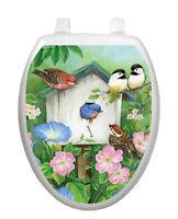 Toilet Tattoos Toilet Seat Lid Decor Blooming Birdhouse Decor Blue Vinyl 1075