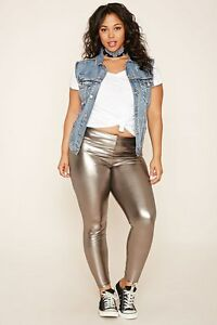 b2cb903b2a1c3d Image is loading Forever-21-Plus-Size-Gunmetal-Faux-Leather-Leggings-