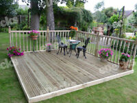 Reject Decking Kit With Handrails (3.0m X 3.0m), Garden Decking, Timbers