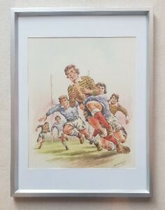Leo-Rawlings-1918-1984-original-signed-water-colour-painting-The-Rugby-Match
