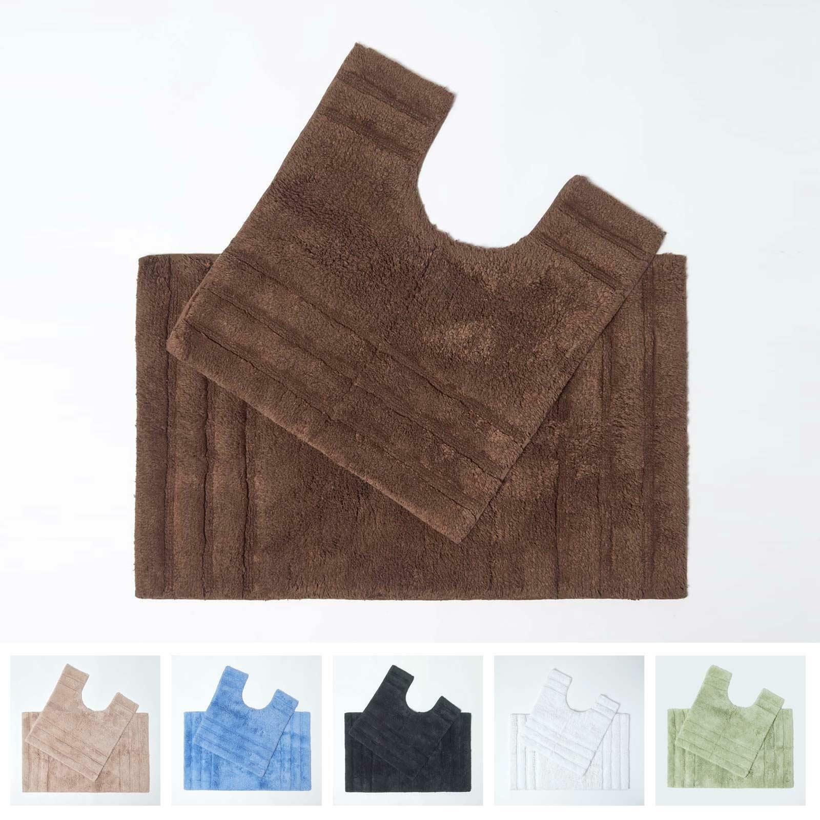 Bath Mats and Pedestal Set Non Slip Super Soft 100% Cotton Washable Spa Supreme