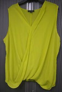 Bright-Yellow-Wrap-Effect-Smart-Top-Light-Good-4-Summer-Sleeveless-Size-22