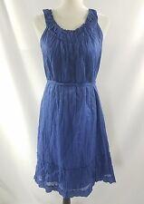 Talbots Womens Blue Knee-Length Sleeveless Cotton Summer Shift Dress Size 12