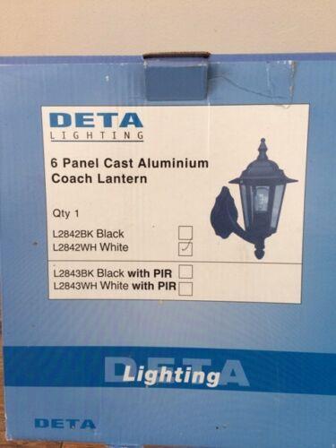 DETA l2842wh 6 PANNELLO Cast Alluminio Coach Lanterna Bianco