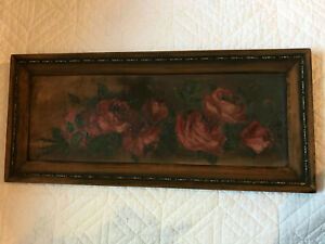 Victorian antique roses floral hand painted original oil PAINTING vintage red